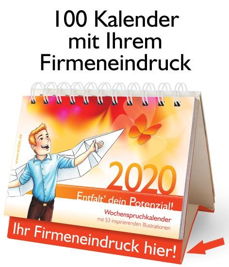 Paket: 100 Kalender 2020 mit Ihrem Firmeneindruck
