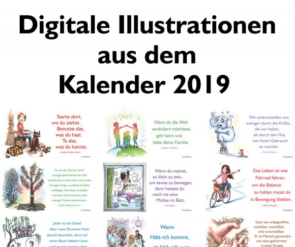Digitale Illustrationen: entfalt-Kalender 2019