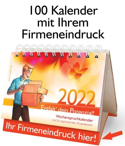 Paket: 100 Kalender 2022 mit Ihrem Firmeneindruck