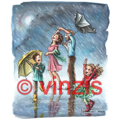 Original-Aquarell: Im Regen tanzen