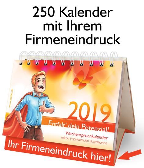 Paket: 250 Kalender 2019 mit Ihrem Firmeneindruck